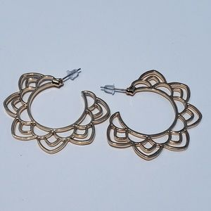 Jewelry - Gold Lotus Flower Mandala Hoop Earrings